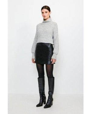 Karen Millen Leather Mini Skirt -, Black