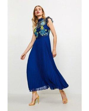 Karen Millen Cutwork Lace Pleated Midi Dress -, Blue