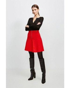 Karen Millen Rivet Detail Ponte Mini Skirt -, Red