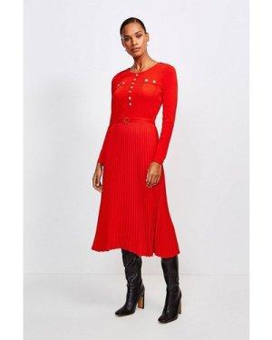 Karen Millen Gold Button Pleated Skirt Knit Dress -, Red