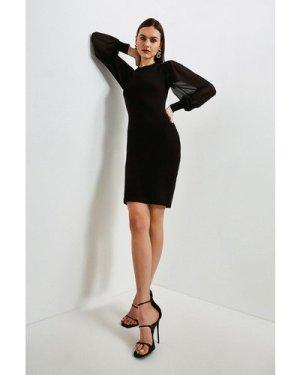 Karen Millen Georgette Sleeve Dress -, Black