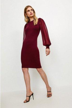 Karen Millen Georgette Sleeve Dress -, Red