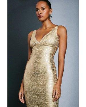 Karen Millen Metallic Bandage Mini Dress -, Gold
