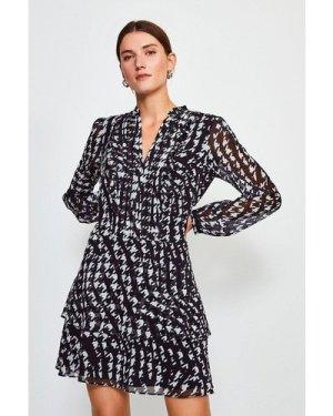 Karen Millen Printed Pintuck Mini Dress -, Black