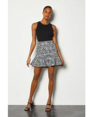 Karen Millen Jacquard Flippy Mini Skirt -, Blackwhite