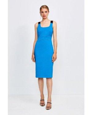 Karen Millen Italian Structured Jersey Strappy Dress -, Blue