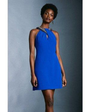 Karen Millen Chain And Embellished Detail Halter Dress -, Blue