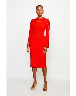 Karen Millen Stud Detail Split Sleeve Pencil Dress -, Red
