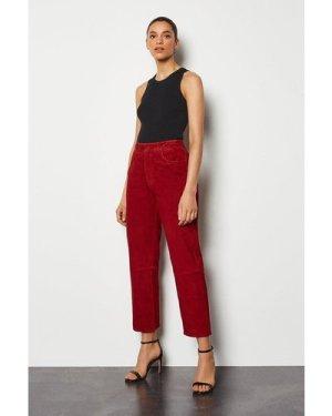 Karen Millen Suede Straight Leg Trouser -, Red