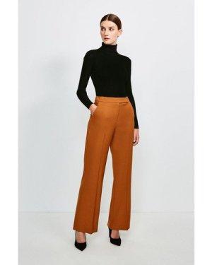Karen Millen Polished Stretch Wool Blend Wide Leg Trouser -, Tan