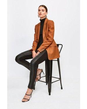 Karen Millen Leather and Ponte Legging -, Black