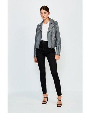 Karen Millen Zip Front Button Detail Jean -, Black