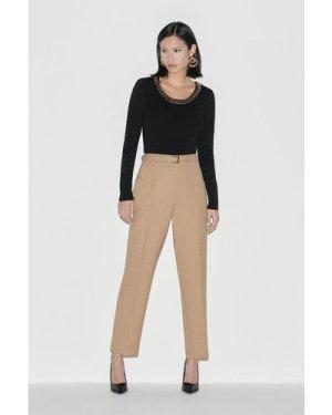 Karen Millen Black Label Italian Stretch Wool Trouser -, Camel