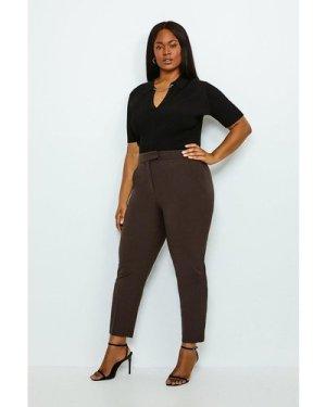 Karen Millen Curve Polished Stretch Wool Blend Trousers -, Brown