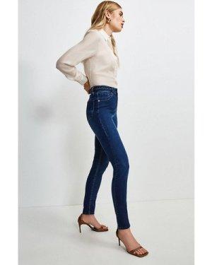 Karen Millen Plait Waistband Skinny Jean -, Indigo