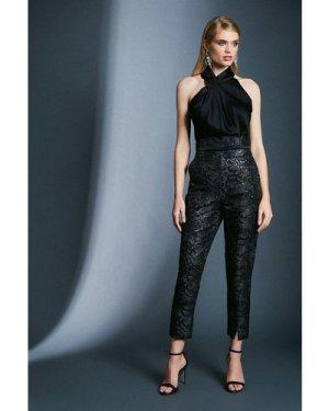 Karen Millen Snake Jacquard Trousers -, Black