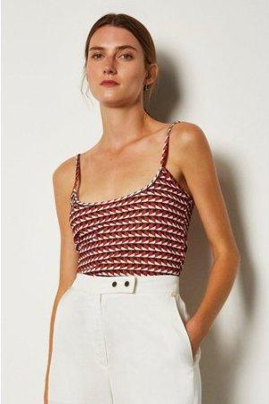 Karen Millen Print Strappy Viscose Jersey Top -, Red