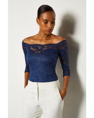 Karen Millen Off The Shoulder 3/4 Sleeve Lace Body -, Navy