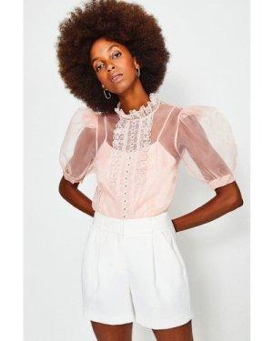 Karen Millen Organza Lace Trim Short Sleeve Top -, Pink