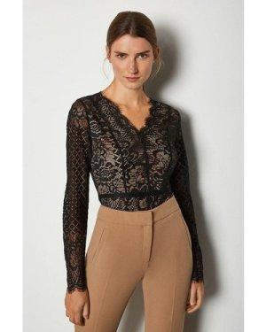 Karen Millen Long Sleeve Multi Pattern Lace Body -, Black