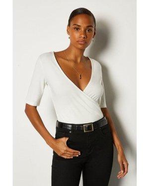 Karen Millen Short Sleeve Viscose Jersey Wrap Top -, White