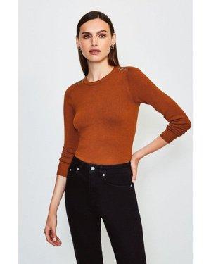 Karen Millen Trim Detail Knitted Jumper -, Cashew