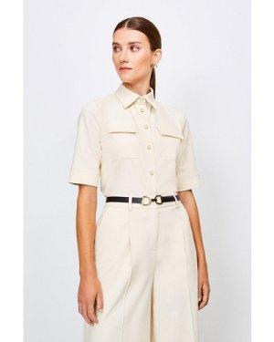 Karen Millen Clean Utility Shirt -, Cream