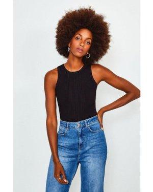 Karen Millen Knitted Rib Crew Neck Vest Top -, Black