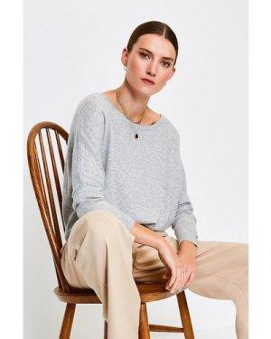 Karen Millen Cashmere Draped Shoulder Jumper -, Light Grey