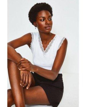 Karen Millen Viscose Jersey Lace Trim Vest -, Ivory