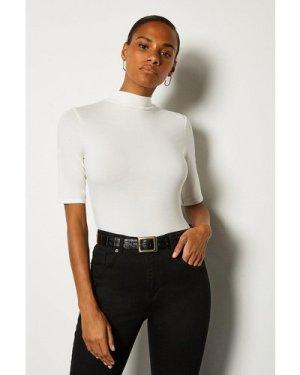Karen Millen Short Sleeve Funnel Neck Viscose Jersey Top -, Ivory