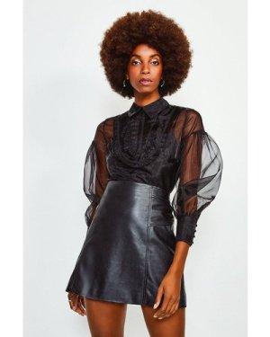 Karen Millen Organza Blouson Sleeve Top -, Black