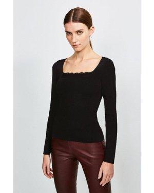 Karen Millen Lace Trim Knitted Top -, Black