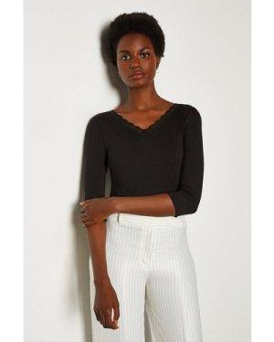 Karen Millen Viscose Jersey Lace Trim T-Shirt -, Black