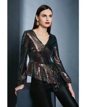 Karen Millen Sequin Peplum Wrap Front Top -, Black