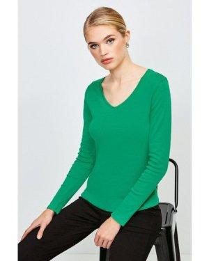 Karen Millen Essential Cotton Long Sleeved V Neck Top -, Green