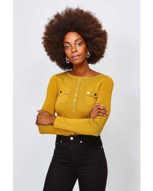 Karen Millen Gold Button Long Sleeve Knitted Top -, Olive