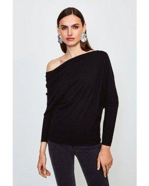 Karen Millen Drape Shoulder Knitted Top -, Black
