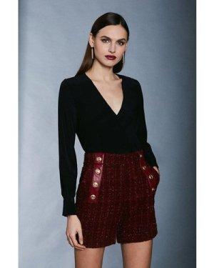 Karen Millen Silk Wrap Blouse -, Black