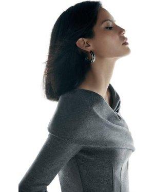 Karen Millen Black Label Italian Wool Jersey Top -, Grey