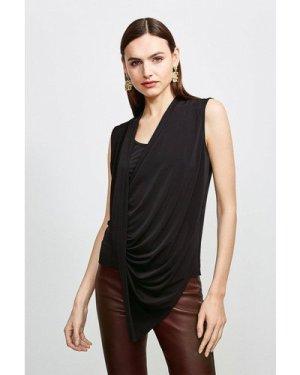 Karen Millen Drape Front Wrap Jersey Top -, Black