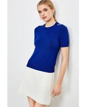 Karen Millen Short Sleeve Trim Detail Knitted Top -, Blue