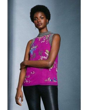 Karen Millen Embroidery Beaded Detail Halter Top -, Pink