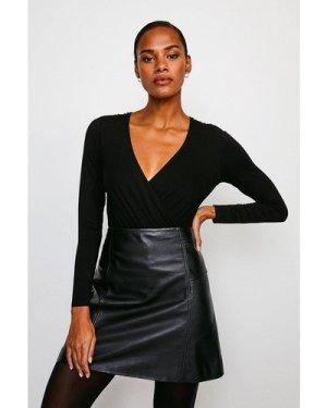 Karen Millen Military Wrap Front Jersey Body -, Black