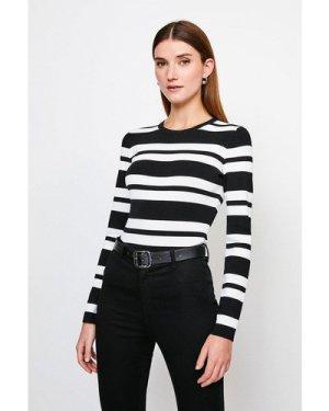 Karen Millen Stripe Rib Knitted Jumper -, Blackwhite