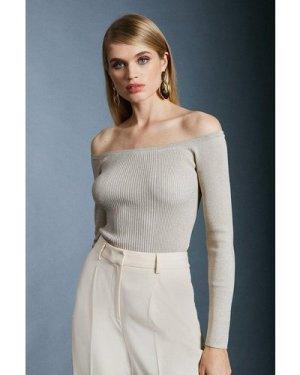 Karen Millen Sparkle Knit Rib Long Sleeve Bardot Top -, Ivory