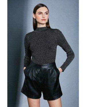 Karen Millen Sparkle Knit Rib Long Sleeve Funnel Neck Top -, Black
