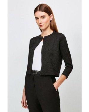 Karen Millen Sparkle Knitted Bolero -, Black