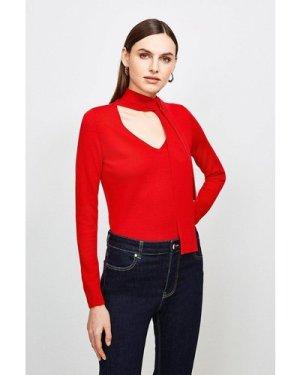 Karen Millen Merino Wool Tie Neck Jumper -, Red