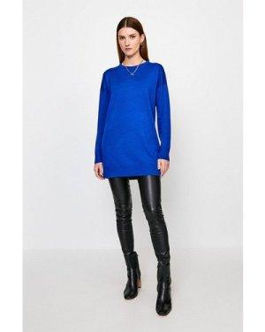 Karen Millen Merino Wool Crew Neck Longline Jumper -, Blue